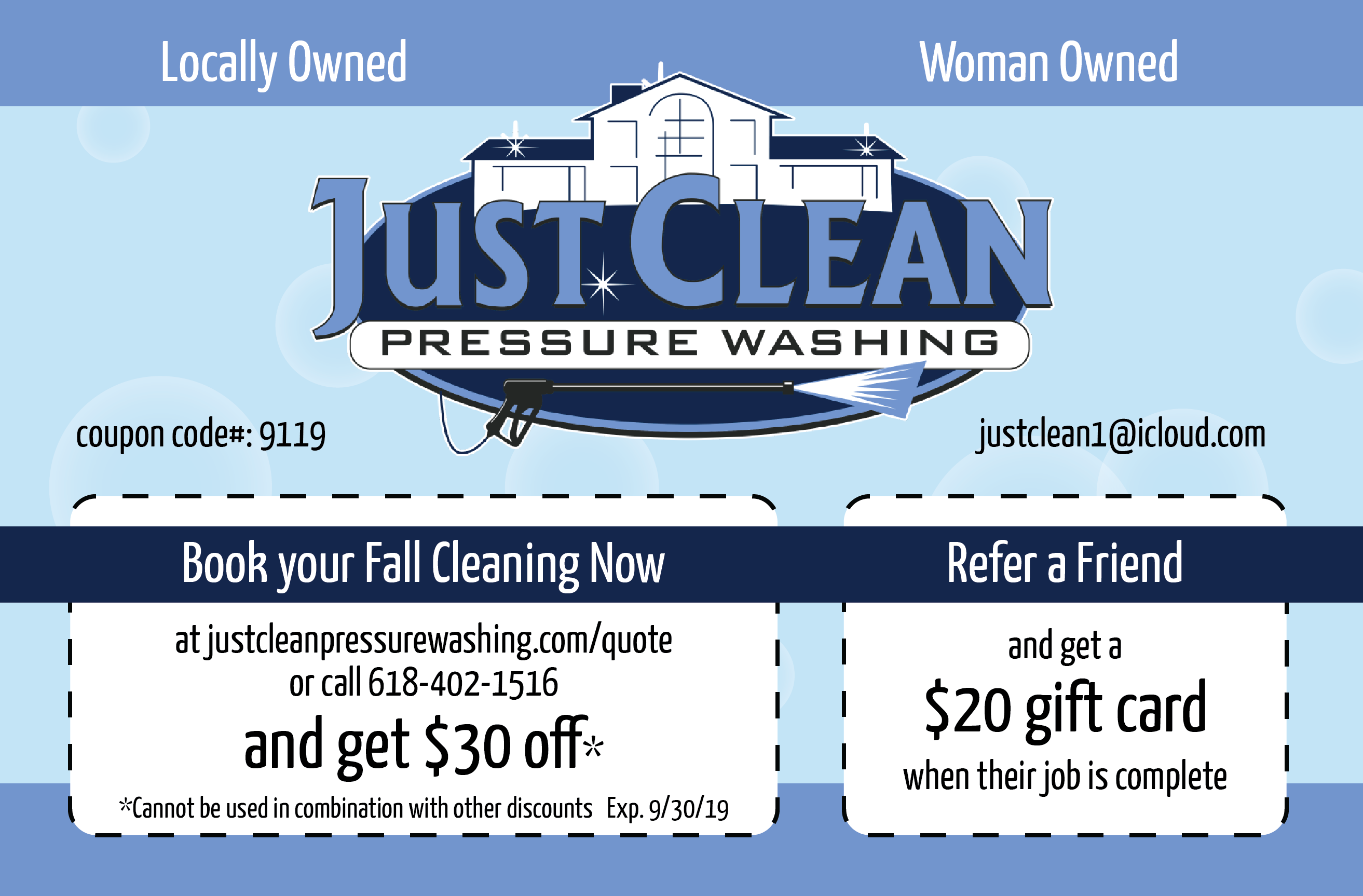 Fall Cleaning Promo for September 2019 from Just Clean Pressure Washing in O'Fallon IL